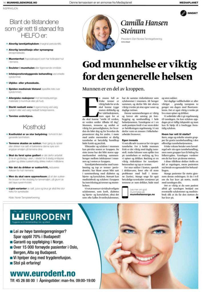 Eurodent i Dagbladet via Munnhelse